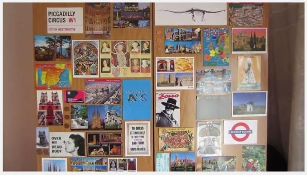 spain postcard wall
